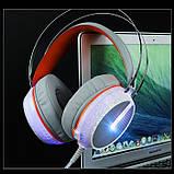 Игровые проводные наушники MISDE G6 со светодиодной подсветкой Белые с оранжевым, фото 2