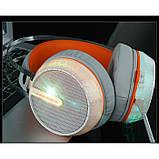 Игровые проводные наушники MISDE G6 со светодиодной подсветкой Белые с оранжевым, фото 3