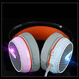 Игровые проводные наушники MISDE G6 со светодиодной подсветкой Белые с оранжевым, фото 4
