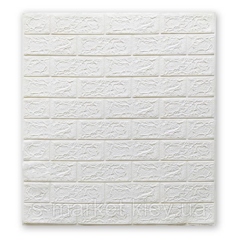Декоративна 3D панель самоклейка під цеглу Білий 700х770х4мм