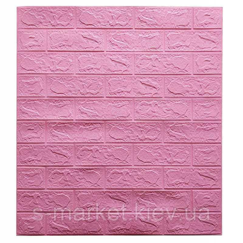 Декоративная 3D панель самоклейка под кирпич Розовый  700х770х3мм