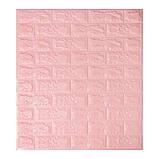Декоративная 3D панель самоклейка под кирпич Розовый  700х770х3мм, фото 2
