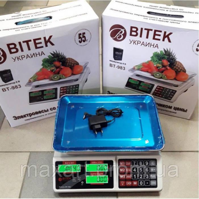 Торговые электронные весы BITEK BT-983 6V до 55 кг
