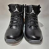 Мужские зимние кожаные спортивные ботинки теплые кроссовки на меху Черные, фото 2