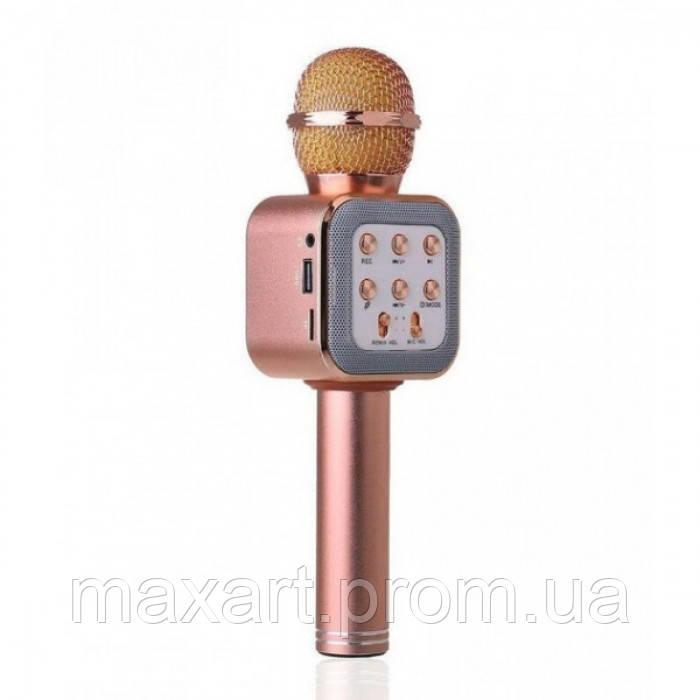 Беспроводной микрофон караоке блютуз WS1818 Bluetooth Розово-Золотой