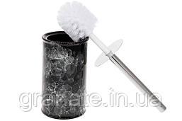 Ершик для унитаза с подставкой 16см, цвет - черный мрамор