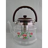 Стеклянный чайник-заварник А-Плюс TK-1047 1,6 литра, фото 2