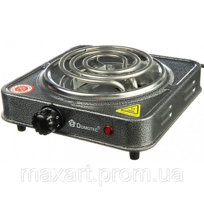 Плита электрическая однокомфорочная спиральная Domotec MS-5801 1000W электроплита СЕРАЯ