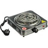 Плита электрическая однокомфорочная спиральная Domotec MS-5801 1000W электроплита СЕРАЯ, фото 2
