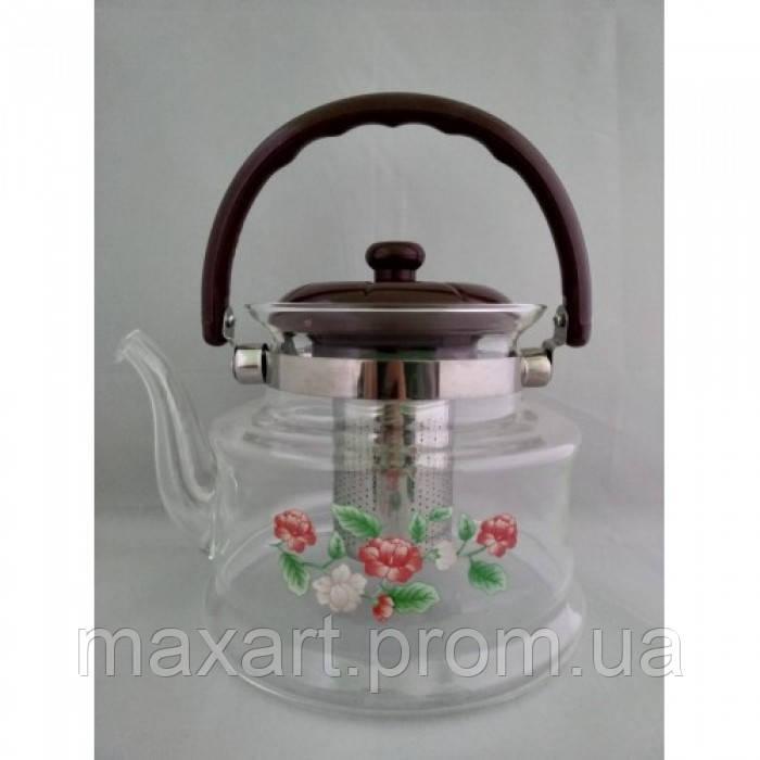 Стеклянный чайник-заварник А-Плюс TK-1042 1,4 литра