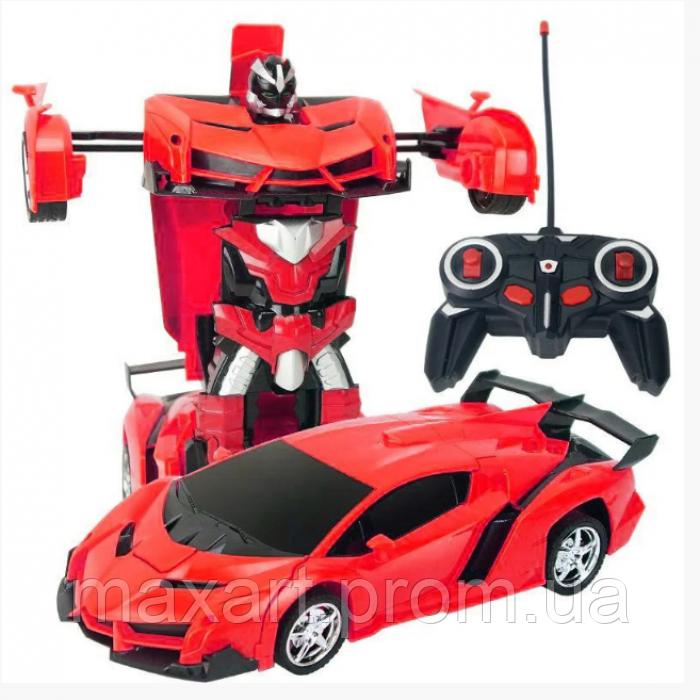 Машинка Трансформер Lamborghini Robot Car Size 1:18 С ПУЛЬТОМ Красная
