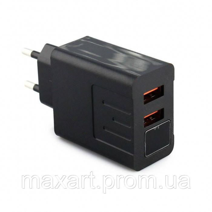 Сетевое зарядное устройство 3.1A 2 USB c экраном QC03 Чёрный