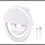 Вспышка-подсветка для телефона селфи-кольцо Selfie Ring Ligh Белый, фото 3