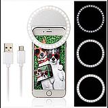Вспышка-подсветка для телефона селфи-кольцо Selfie Ring Ligh Белый, фото 5