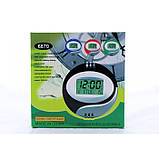 Электронные настенные часы Kenko КК 6870 с термометром Синие, фото 3