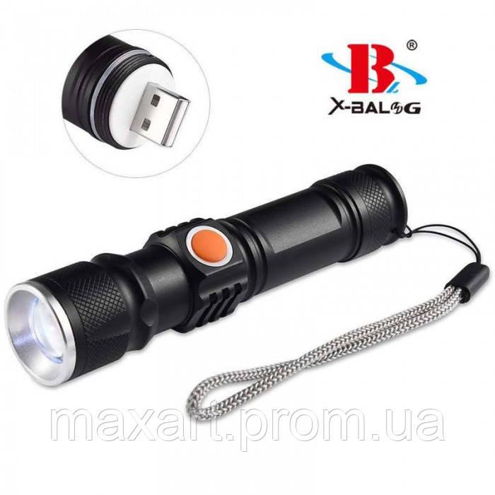 Ручной Фонарь X-Balog ST-515, T6 зарядка от USB фонарик