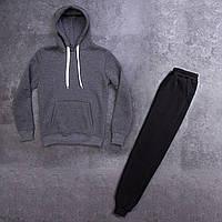 Мужской зимний спортивный костюм 98 (антрацит с черным)