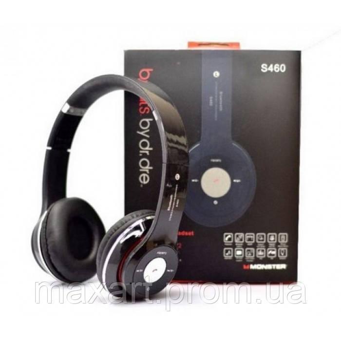 Наушники беспроводные bluetooth microSD Mp3 S460 MP3 FM радио Чёрные