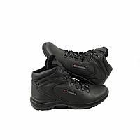 Зимние мужские кроссовки ботинки Columbia кожаные черные
