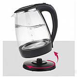 Дисковый электрический чайник Domotec MS-8110 С подсветкой Чёрный, фото 3