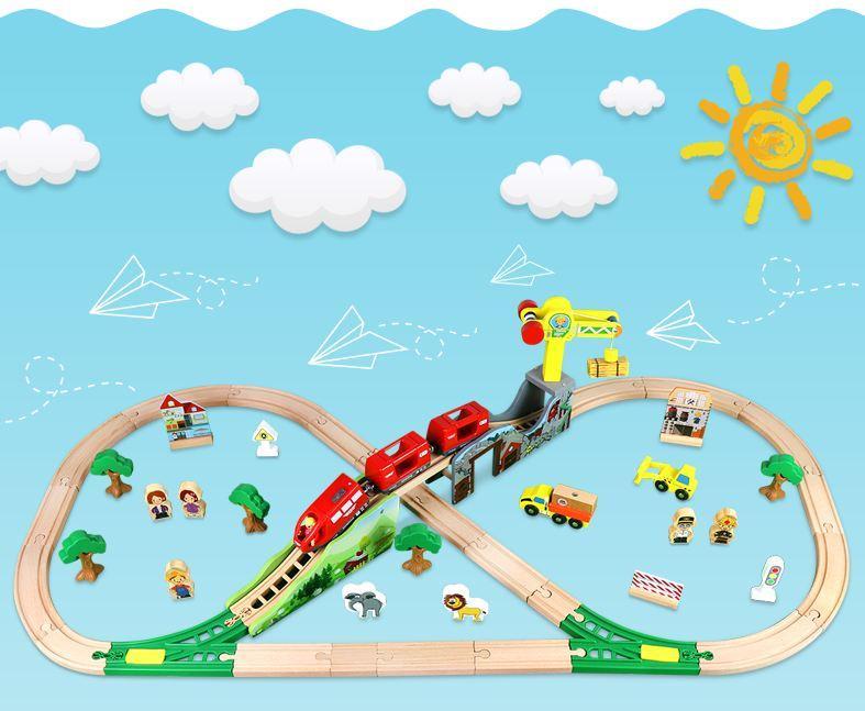 Железная деревянная дорога детская, EdWone, 70 деталей, 3+ (Brio, Ikea) E16A09
