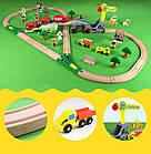 Железная деревянная дорога детская, EdWone, 70 деталей, 3+ (Brio, Ikea) E16A09, фото 3