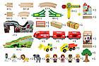 Железная деревянная дорога детская, EdWone, 70 деталей, 3+ (Brio, Ikea) E16A09, фото 7