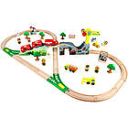 Железная деревянная дорога детская, EdWone, 70 деталей, 3+ (Brio, Ikea) E16A09, фото 2