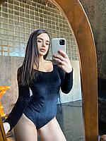 Трикотажне жіноче боді в принт з блискавкою на грудях і довгими рукавами 6618421Е, фото 1