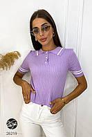 Женский вязаный джемпер с коротким рукавом сиреневого цвета. Модель 26219, фото 1