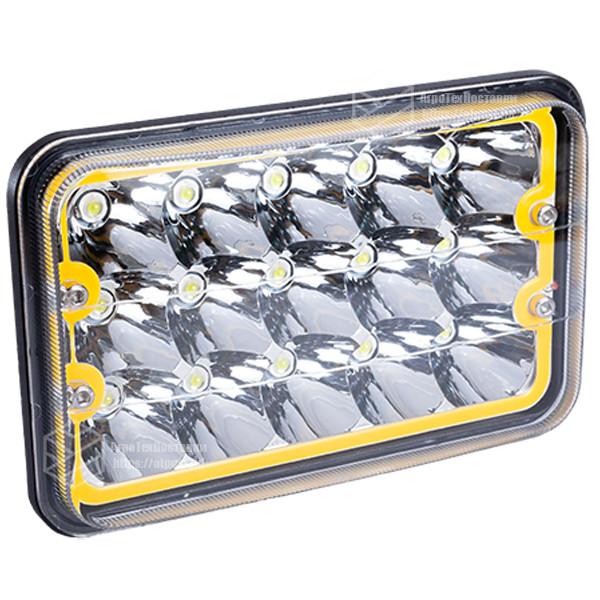 Фара LED прямоугольная 45W (15 диодов) (ближн. + дальний) (+ LED кольцо желтое) + крепление