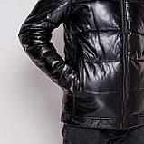 Чоловіча зимова шкіряна куртка, чорного кольору., фото 2