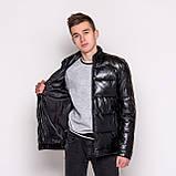 Чоловіча зимова шкіряна куртка, чорного кольору., фото 3