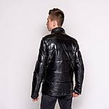 Чоловіча зимова шкіряна куртка, чорного кольору., фото 5