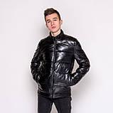 Чоловіча зимова шкіряна куртка, чорного кольору., фото 6