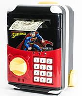 Детский сейф копилка с кодовым замком . Робот копилка СУПЕРГЕРОИ - Бэтмен, Айронмен, Спайдермен