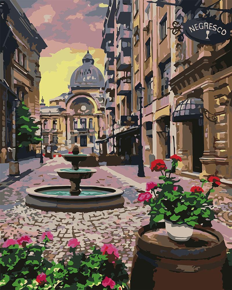 Картина рисование по номерам Идейка Бухарест летом KHO3573 40х50 см Сооружения, дома, городской пейзаж набор