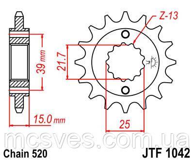 Звезда стальная передняя JT Sprockets JT JTF1042.14