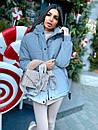 Жіноча зимова подовжена куртка на блискавці з об'ємним капюшоном (р. 42-46) 8401512, фото 6