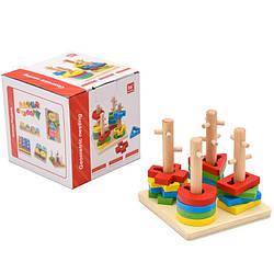 Дерев'яна іграшка геометрика,пірамідка-ключ в кор