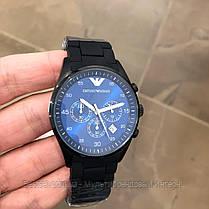 Часы мужские наручные Emporio Armani AR-5905 Black-Blue Silicone / реплика ААА класса, фото 2