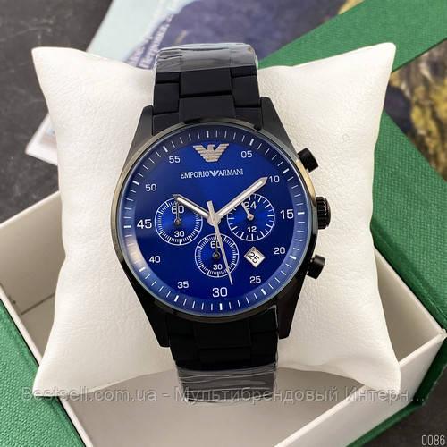 Годинники чоловічі наручні Emporio Armani AR-5905 Black-Blue Silicone / репліка ААА класу