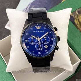 Часы мужские наручные Emporio Armani AR-5905 Black-Blue Silicone / реплика ААА класса