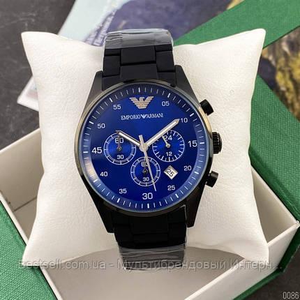 Годинники чоловічі наручні Emporio Armani AR-5905 Black-Blue Silicone / репліка ААА класу, фото 2