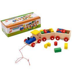 Дерев'яна іграшка каталка паравозик з геометричес