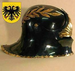 Шлем Саллет Императорский с венцом (черно-золотой).Раритет
