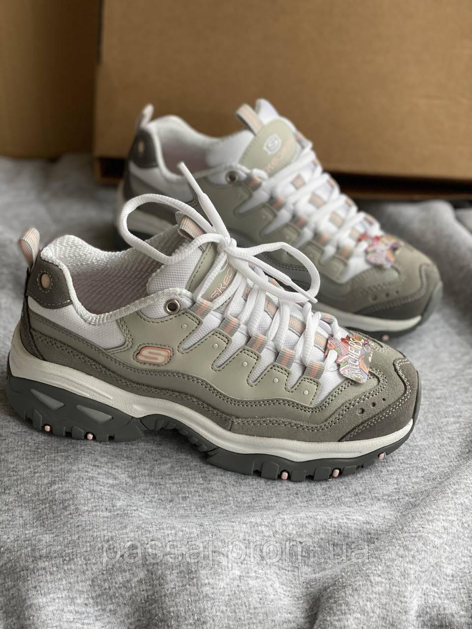 Серые новые кроссовки skechers
