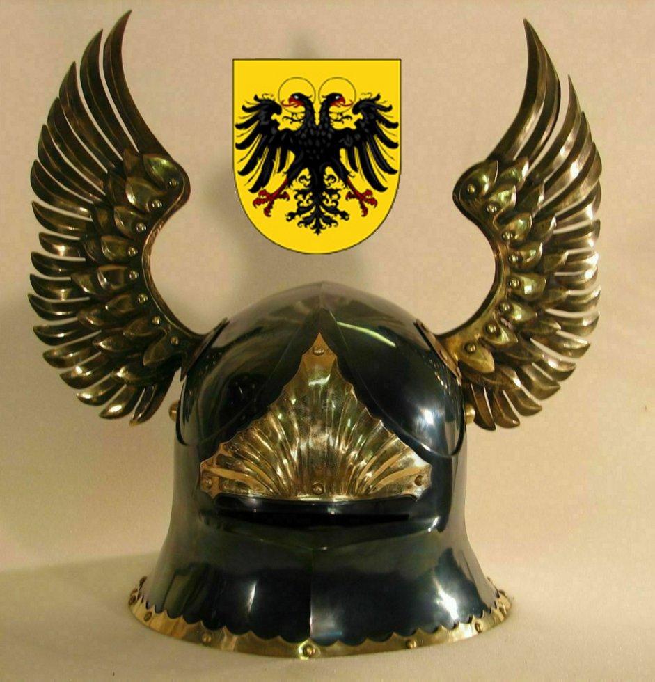 Шлем Саллет Императорский с крыльями (черно-золотой).Раритет