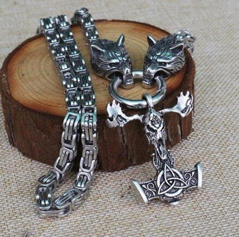 Кулон молот Тора с черепом и Волками Одина (металл)