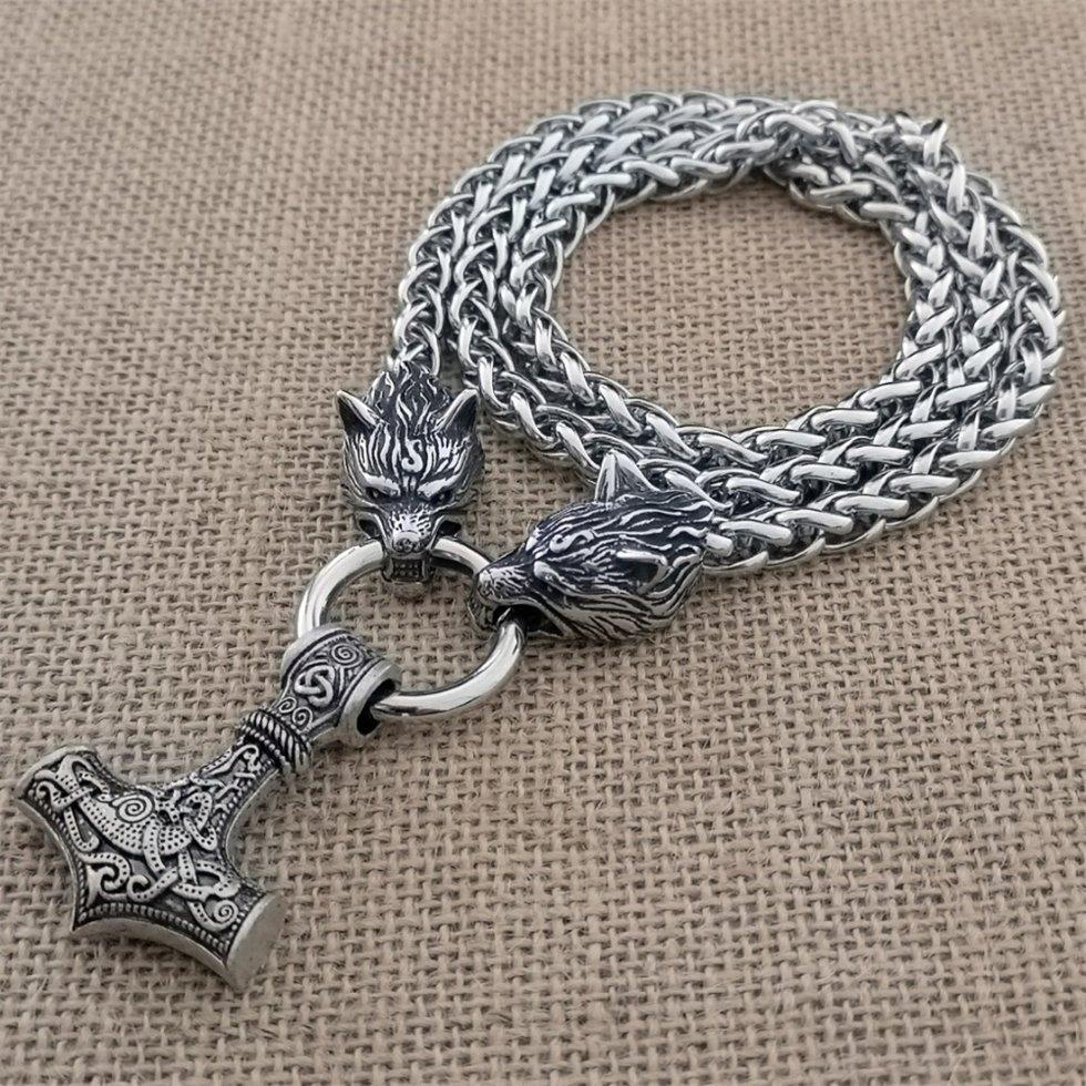 Кулон молот Тора з Вовками Одіна на ланцюга (С) (подвійне плетіння)
